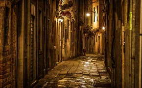 Picture road, light, night, the city, stones, street, the evening, Italy, Venice, plate, Italy, Venice