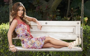 Picture girl, bench, smile, swing, dress, brown hair, beautiful