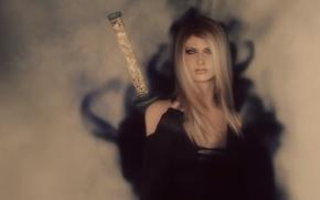 Picture girl, rendering, background, sword