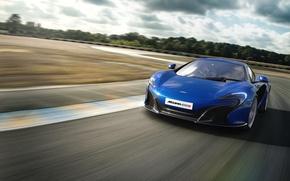 Picture the sky, asphalt, trees, blue, track, mclaren, McLaren, the curb, 650s