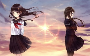 Picture the sky, sunset, girls, the wind, art, form, Schoolgirls, kazuharu kina