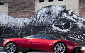 Picture Red, Figure, Machine, Dinosaur, Red, Pagani, Car, Car, Cars, Pagani, To huayr