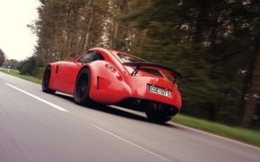 Picture Red, Road, Wiesmann GT MF5, Rear View