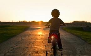 Picture sunset, bike, mood, boy