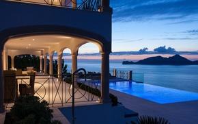 Picture sea, light, Villa, the evening, pool, Port Andratx