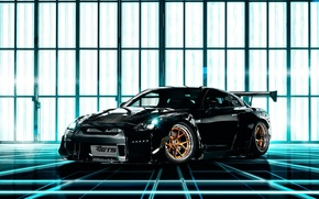 Picture car, black, tuning, nissan gt-r