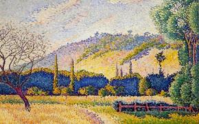 Picture autumn, grass, trees, mountains, nature, picture, Landscape, Henri Edmond Cross