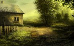 Picture landscape, house, figure