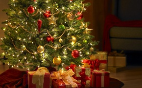 Wallpaper Tree, New Year, Lights