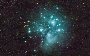 Wallpaper space, The Pleiades, M45, star cluster, in the constellation of Taurus