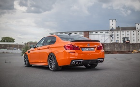 Picture auto, orange, BMW, BMW, sedan, rear view, 3D Design