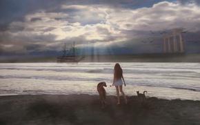 Picture cat, girl, fantasy, shore, ship, dog