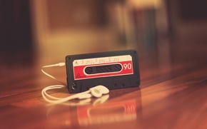 Wallpaper mood, background, headphones, Wallpaper, player, music, cassette, table. red, melody. song