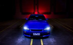 Picture blue, strip, nissan, skyline, Nissan, blue, the front, r34, headlights, skyline