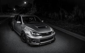 Picture Subaru, light, silver, road, wrx, impreza, night, front, sti