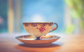 Wallpaper light, wood, cup, bokeh, shadows, tea, table, feed, saucer, teacup, beverage