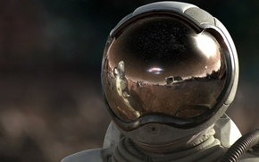 Picture reflection, astronaut, The suit, helmet, 157