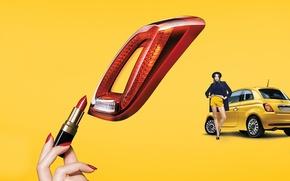 Wallpaper auto, yellow, lipstick, FIAT, style