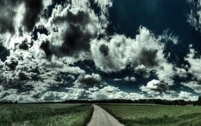 Picture road, field, landscape, road, nature