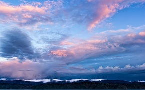 Picture the sky, clouds, mountains, Strait, blue, the evening, New Zealand, sky, New Zealand, blue, mountains, ...