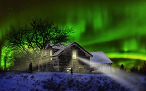 Picture night, house, Northern lights, silhouettes, The Visitors