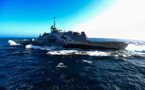 Picture 2006, gun, sky, sea, clouds, 2005, US Navy, USS Freedom, kumo, 000 t, speed: 40 …