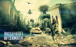 Picture helicopter, Battlefield 3, soldiers, aftermath, the plane, the city