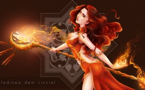 Picture girl, fiction, magic, staff