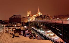 Wallpaper lights, Switzerland, Cathedral, bridge, night, Lausanne, home