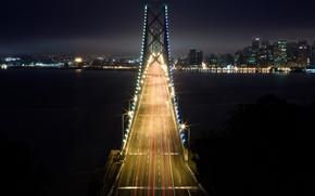Wallpaper lights, light, bridge, night, the city