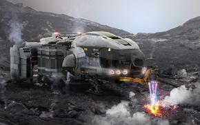 Picture surface, planet, landing, starship, Star Citizen, Misc Prospector