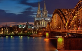 Picture light, bridge, the city, lights, the evening, excerpt, Germany, Cologne Cathedral, Cologne