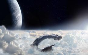Picture stars, clouds, light, ship, planet, The sky, Prometheus