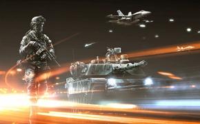 Wallpaper Battlefield, the plane, Battlefield 3, soldiers, tank