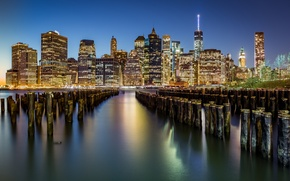 Picture city, lights, USA, night, New York, Manhattan, Brooklyn Bridge, skyscrapers, harbour