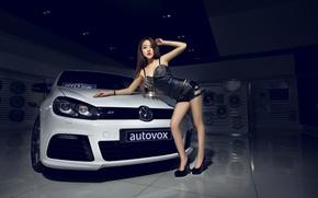 Picture machine, auto, girl, model, Volkswagen, Girl, Asian, car, Body, Black, White, korean model