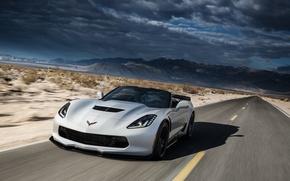 Picture road, speed, Z06, Corvette, Chevrolet, supercar, car, Convertible