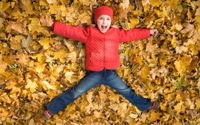 Picture children, childhood, fun, child, fun, child, childhood, children, happiness, happiness, playing, playing, smiling, autumn leaves, ...
