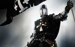 Picture armor, sword, tophelm, Crusader