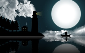 Wallpaper the moon, Lighthouse, love