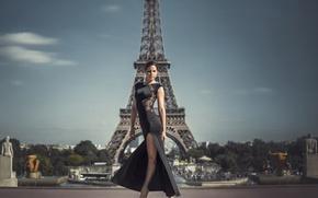 Picture girl, Paris, figure, dress, Eiffel tower