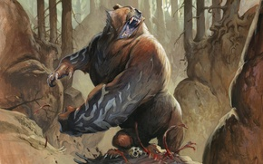 Picture bear, Magic: The Gathering, Jesper Ejsing, Runeclaw Bear, Roundelay Bear