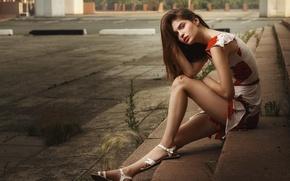 Picture summer, look, girl, city, pose, mood, patterns, sweetheart, street, model, portrait, earrings, dress, steps, brown ...