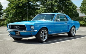 Picture blue, Mustang, Ford, muscle car, the front, Muscle car