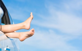 Picture car, machine, the sky, girl, background, widescreen, transport, Wallpaper, blue, feet, mood, woman, people, girl, …