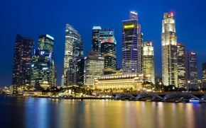 Picture the sky, night, lights, reflection, skyscrapers, backlight, Bay, Singapore, blue, megapolis, the city-state