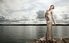 Wallpaper water, flowers, pose, lake, style, model, roses, figure, dress, The Work Holmes