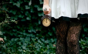 Picture wallpaper, girl, forest, clock