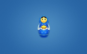 Wallpaper minimalism, blue background, cakes, Matrona, painted doll, matryoshka