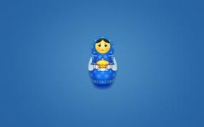 Wallpaper minimalism, blue background, cakes, matryoshka, Matrona, painted doll